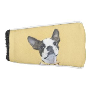 Boston Terrier Painting - Cute Original Dog Art Golf Head Cover