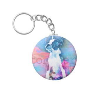 Boston Terrier Watercolor Digital Art Keychain