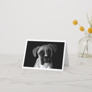 Boxer Puppy Dog Black And White Notecard