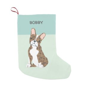 Brindle Boston Terrier Illustration Small Christmas Stocking