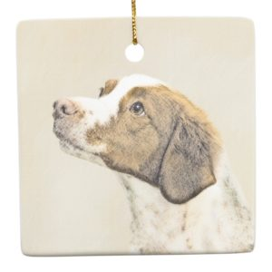 Brittany Painting - Cute Original Dog Art Ceramic Ornament