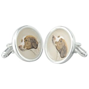 Brittany Painting - Cute Original Dog Art Cufflinks