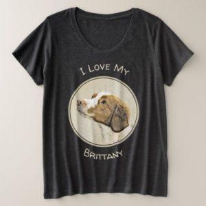 Brittany Painting - Cute Original Dog Art Plus Size T-Shirt