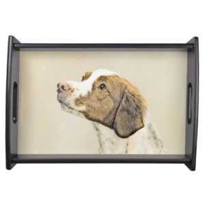 Brittany Painting - Cute Original Dog Art Serving Tray