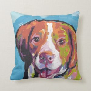 Brittany spaniel Dog fun bright pop art Throw Pillow