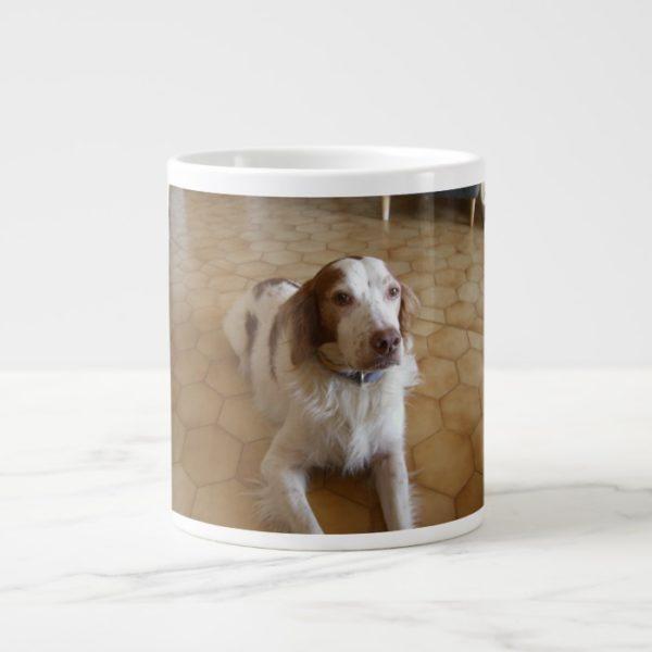 brittany spaniel laying giant coffee mug