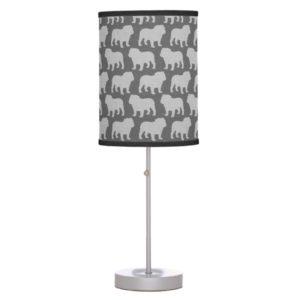 Bulldog Silhouettes Pattern Table Lamp
