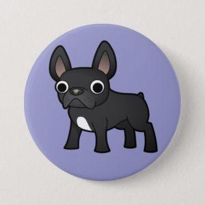 Cartoon French Bulldog (black) Button
