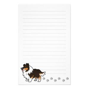 Cartoon Shetland Sheepdog / Collie (tricolor) Stationery