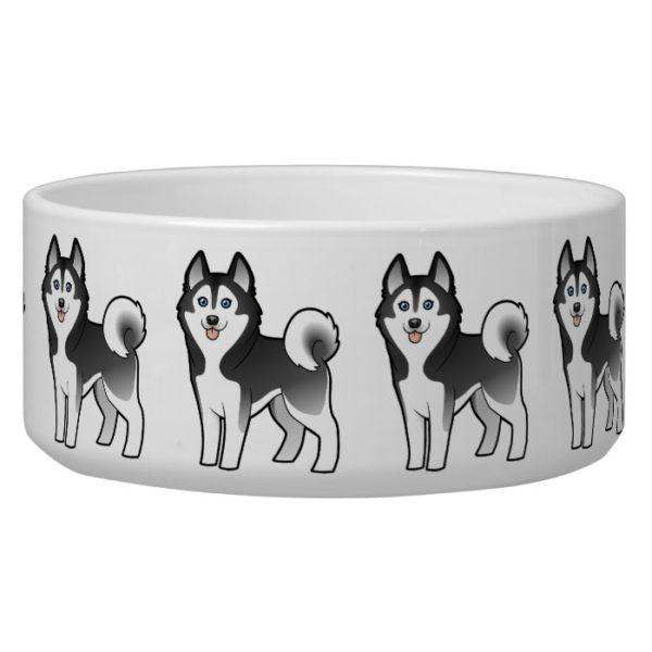 Cartoon Siberian Husky / Alaskan Malamute Bowl