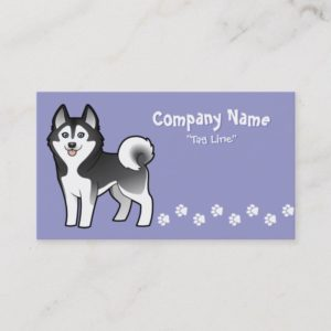 Cartoon Siberian Husky / Alaskan Malamute Business Card