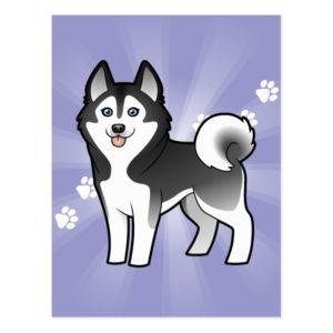 Cartoon Siberian Husky / Alaskan Malamute Postcard