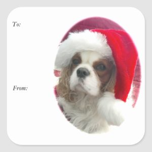 Cavalier Santa Gift Tag Stickers