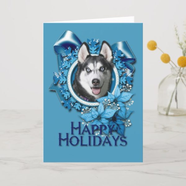 Christmas - Blue Snowflakes - Siberian Husky Holiday Card