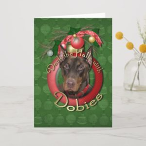 Christmas - Deck the Halls - Dobies - Rocky Holiday Card