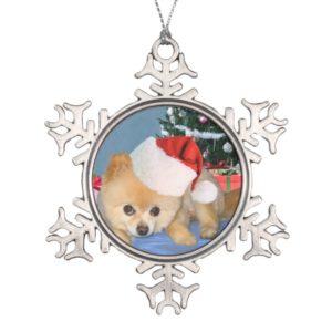 Christmas, Pomeranian Dog, Santa Hat Snowflake Pewter Christmas Ornament