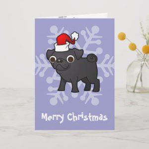 Christmas Pug (black) Holiday Card