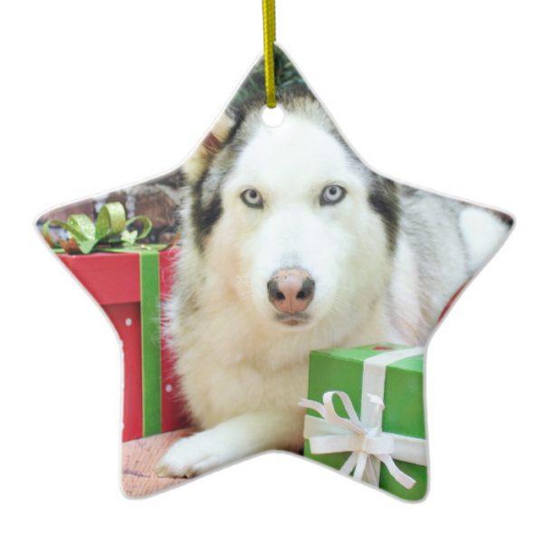 Christmas - Siberian Husky - Juliet Ceramic Ornament