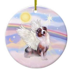 Clouds - Merle Australian Shepherd Angel (#1) Ceramic Ornament