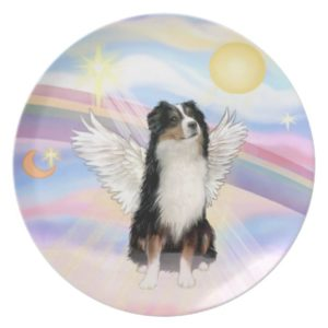 Clouds - Tri Color Australian Shepherd Angel Dinner Plate