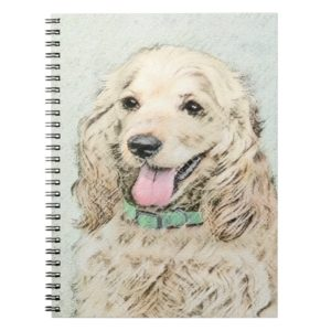 Cocker Spaniel Buff Painting - Original Dog Art Notebook