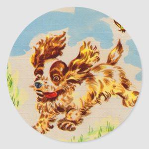 cocker spaniel puppy dog on the run classic round sticker