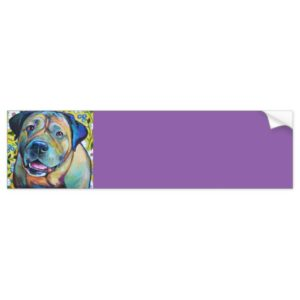 Colorful BULL MASTIFF WITH FLOWERS Bumper Sticker