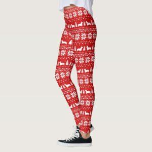 Corgi Silhouettes Fun Christmas Sweater Pattern Leggings