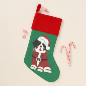 Custom Bernese Mountain Dog Santa Paws Christmas Stocking