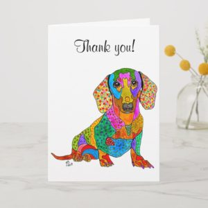 Cute and Colorful Dachshund Greeting Card