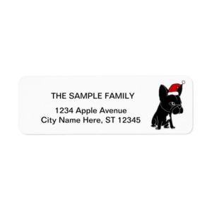 Cute Black French Bulldog in Santa Hat Christmas Label