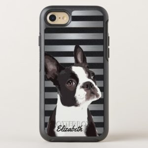 Cute Boston Terrier Name Dog Silver Pattern OtterBox iPhone Case