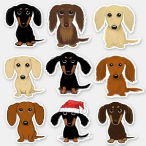 Cute Dachshunds Doxie Color Variety Sticker Set