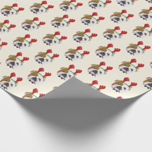 Cute English Bulldog with Reindeer Hat - Christmas Wrapping Paper