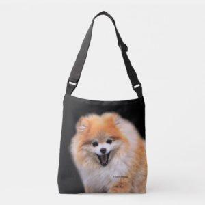 Cute Laughing Pomeranian Dog Crossbody Bag