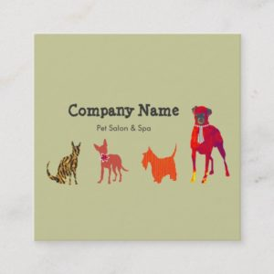 Cute Pets. Animal  Dogs  Cats Pet Salon Spa Square Business Card