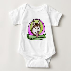 Cute Siberian husky dog Baby Bodysuit
