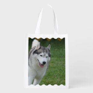Cute Siberian Husky Grocery Bag