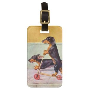 Dachshund on scooter vintage bag tag