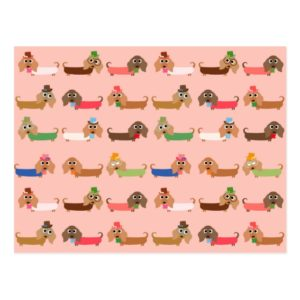 Dachshunds on Pink Postcard