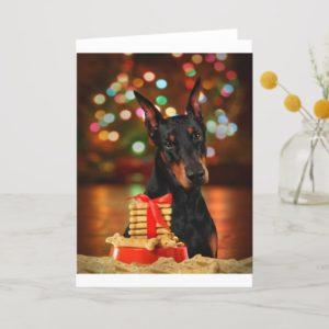 Doberman Christmas Holiday Card