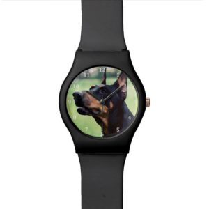 Dreamy Doberman Pinscher Face Painting Wrist Watch