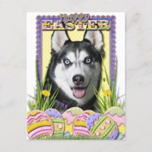 Easter Egg Cookies - Siberian Husky Holiday Postcard