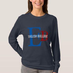 English Bulldog Breed Monogram Design T-Shirt