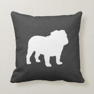 English Bulldog Silhouette Dark Grey and White Throw Pillow
