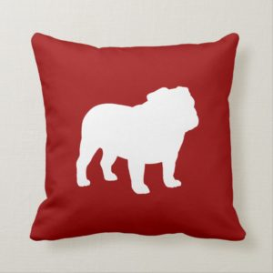 English Bulldog Silhouette Red and White Dog Lover Throw Pillow