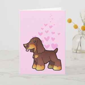 English Cocker Spaniel Love (chocolate and tan) Card