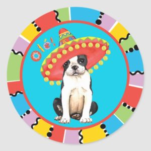 Fiesta Boston Terrier Classic Round Sticker