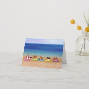 Five Dog Sand Splat Welsh Corgis Greeting Card