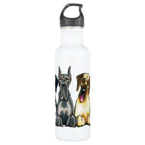 Four Great Danes Water Bottle